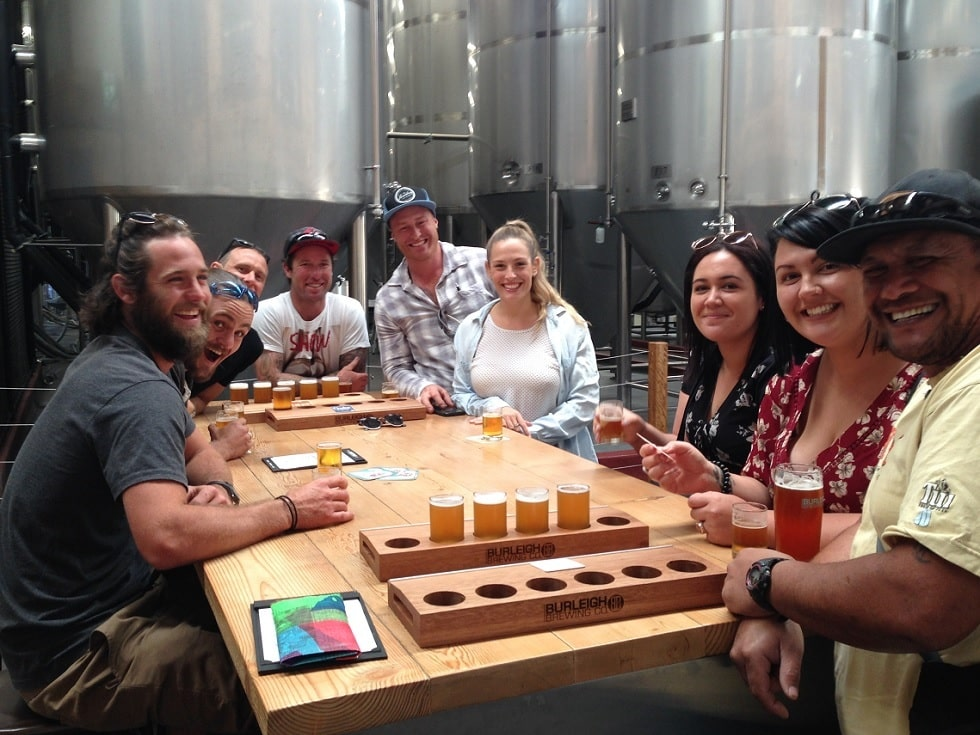 Enjoying a selection of beers at Burleigh Brewing Co in Gold Coast during a full day brewery tour