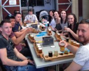group with beers at Fortitude Brewing at Mount Tamborine during a full day Gold Coast beer tour
