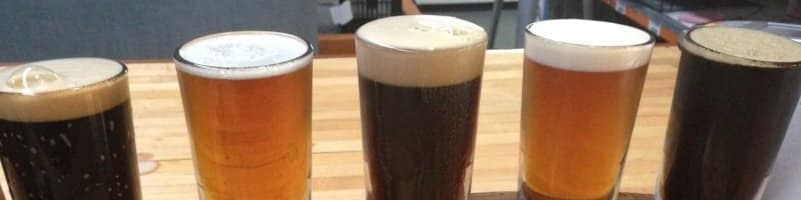 Tasting paddle of hand crafted beers at Bacchus Brewing Co Brisbane Queensland