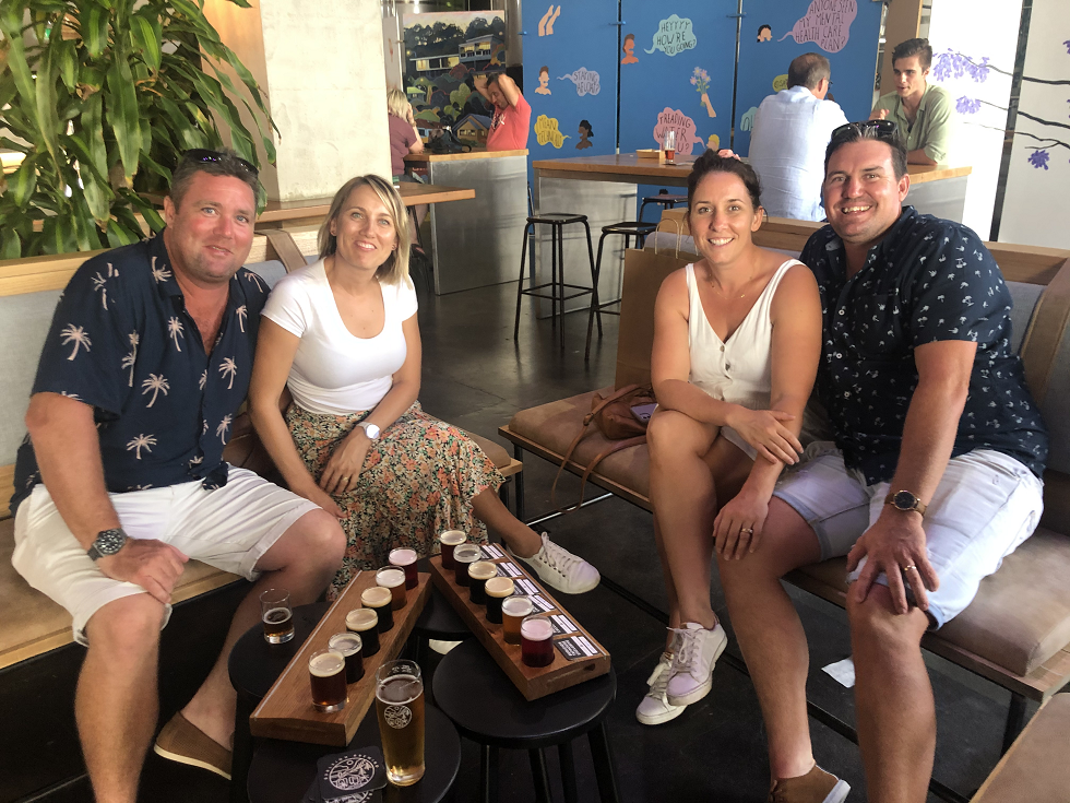 enjoying beers at Burleigh Brewing Co on a Gold Coast brewery tour