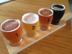 beers on a tasting paddle