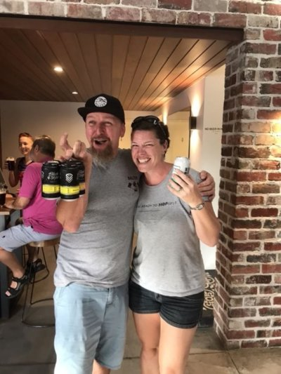 Scotty Hargrave, head brewer at Balter, with Joslyn Erickson from Hop On Brewery Tours