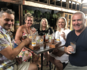 group with gin drinks at Granddad Jacks on the Gold Coast
